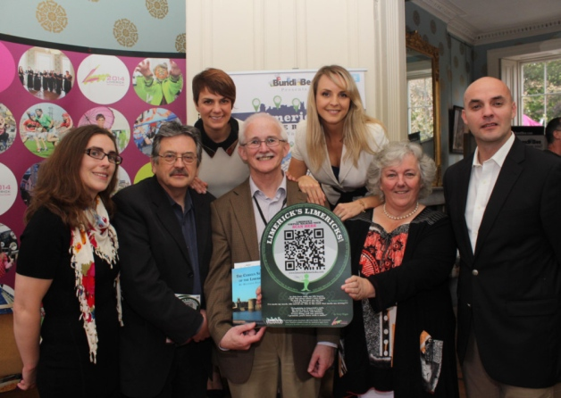 Sharon Slater, Domonic Taylor, Dr Mathew Potter, UrsulaCallaghan, Mark Manning, Serena Hartigan, and Tara Hartigan at the launch of the Limericks Limericks QR code initiative